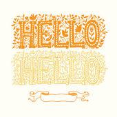 Hello hello yellow card — Stock Vector