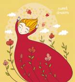Dreamy girl card — Stock Vector