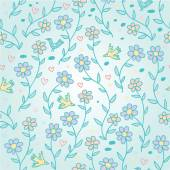 Gentle spring blue seamless pattern — ストックベクタ