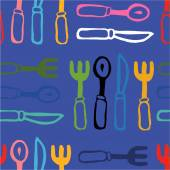 Colored forks and knives purple seamless pattern — Stock Vector