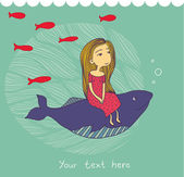 Girl and whale — Stock Vector