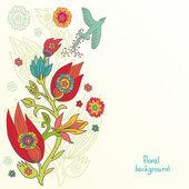 Blumen hintergrund mit einem vogel. — Stockvektor