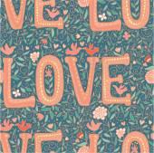 Vintage kärlek seamless mönster — Stockvektor