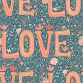Vintage love seamless pattern — Stock Vector