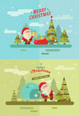 Santa's journey. 2 colored ilustration. Eps 10 — Stock Vector