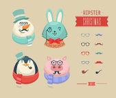 クリスマスの流行に敏感な動物。ベクトル イラスト — ストックベクタ