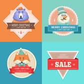 Christmas hipster animals. Sale card.  — Stock Vector