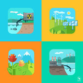 Urban and village landscape. Ecology, environment. — Stock Vector