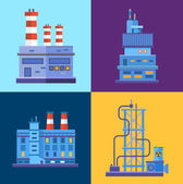 Vector Industrial factory buildings icons set in flat design style. — Stock Vector