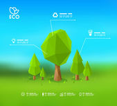Modern infographic design with lowpoly tree Eps 10 stock vector illustration — Vettoriale Stock