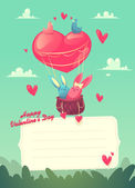 Two rabbits in a hot air balloon. And two birds.  Valentines Day Card. Vector illustration. — 图库矢量图片