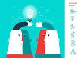 Businessman giving ideas bulb to his partner. business partnership concept. vector — Stock Vector