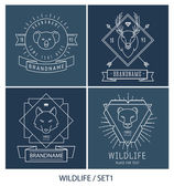 Trendy Retro Vintage Insignias Bundle. Animals. — Stock Vector