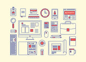 Modern design flat icon vector collection concept in stylish colors of business workflow items and elements — Vector de stock