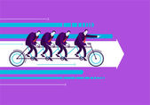 Vector business man with team on the bicycle — Stockvector