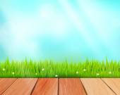 Vector rustic wooden planks and grass on blue background — Vecteur