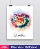 Watercolor Grand Canyon, Arizona, USA. Vector — Stockvektor