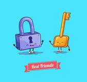 Vektor-Cartoon. Schutz, Sicherheitsschloss und Schlüssel. Beste Freunde — Stockvektor