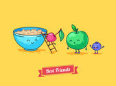 Vector funny cartoon. Fruit diet. Porridge and fruits with oatmeal. Best friends. — Stock Vector