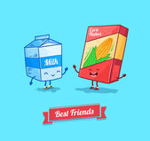 Vector funny cartoon. Funny cornflake and milk.  Best friends. — ストックベクタ