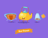 Vector funny cartoon. Funny teapot, cup and teabag. Best friends — Stok Vektör
