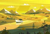 Seashore landscape. Vector illustration. — Stock Vector