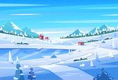 Paisaje de invierno. ilustración vectorial. — Vector de stock