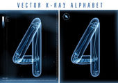 Vector blue 3D x ray style alphabet vector for unique logo or text — Stock Vector