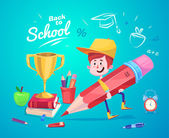 Back to school. Cute schoolchild near supplies with cup. Vector — Stock Vector