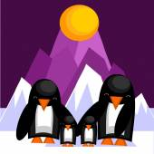 Family of penguins — Stock Vector