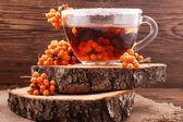 Herbal tea with sea buckthorn — Stockfoto