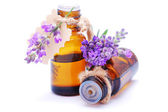Bottle with lavender oil isolated on white background — Stock Photo
