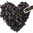 Sunflower seeds in the form of heart on isolated background — Stock Photo #70289759