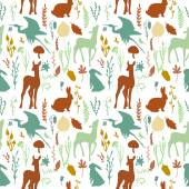 Forest wildlife seamless pattern — Stock Vector