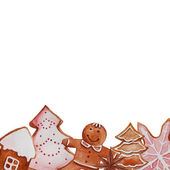 Christmas holiday ginger biscuits background. — Stock Vector