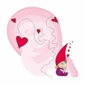 Red hair gnome in love — 图库矢量图片