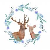 Deers in love. Watercolor coat of arms — Stock Vector