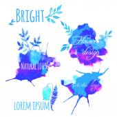 Logo and design elements set hand painted with watercolor — Vector de stock