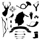 Deer silhouettes set — Stock Vector