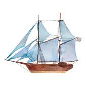 Watercolor vintage schooner — Stockvector