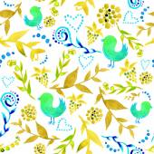 Watercolor floral indie seamless pattern with birds — Stock Vector