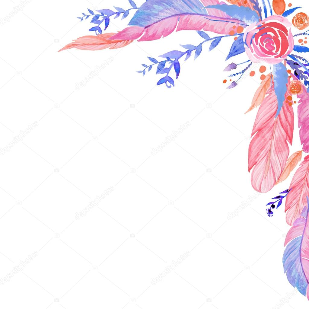 Boho Chic Style Invitation Card Design Watercolor Roses