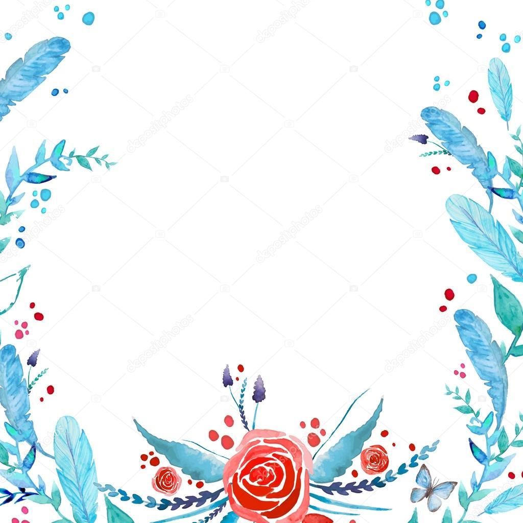 Boho-chic style invitation card design. Watercolor roses ...