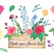 Watercolor wood box with flowers — Stock Vector #58489751