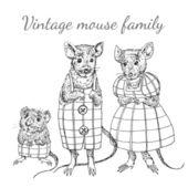 Sketch mouse family — Stockvector