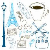 Paris sketch set — Stock Vector