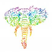 Watercolor  Floral elephant head — 图库矢量图片