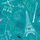 Blue Paris sketch pattern — Stock Vector