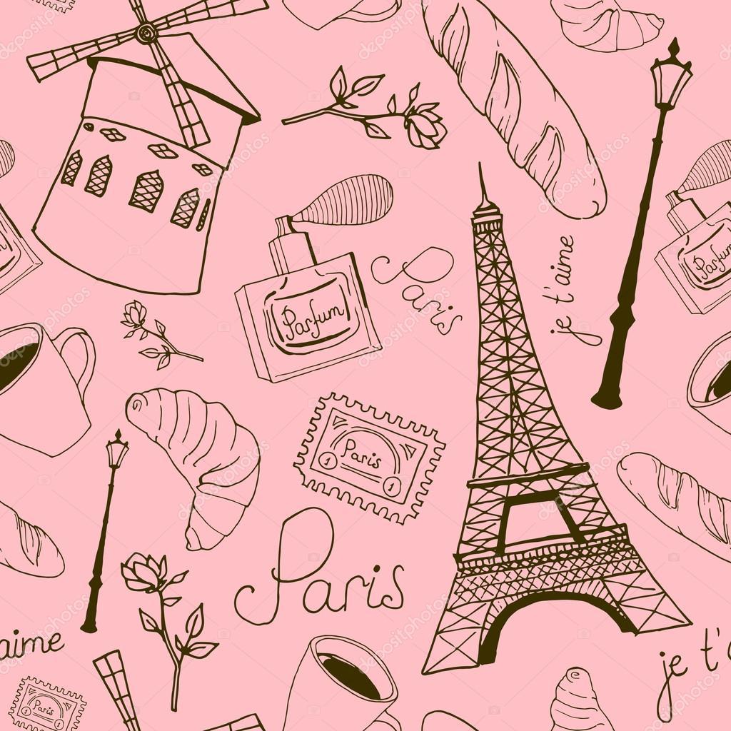 As Creation Pink Paris Pattern Eiffel Tower Childrens: Stock Vector © DinaL #58489605