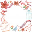 Watercolor flowers, birds and cages frame — Stock Vector #58954523